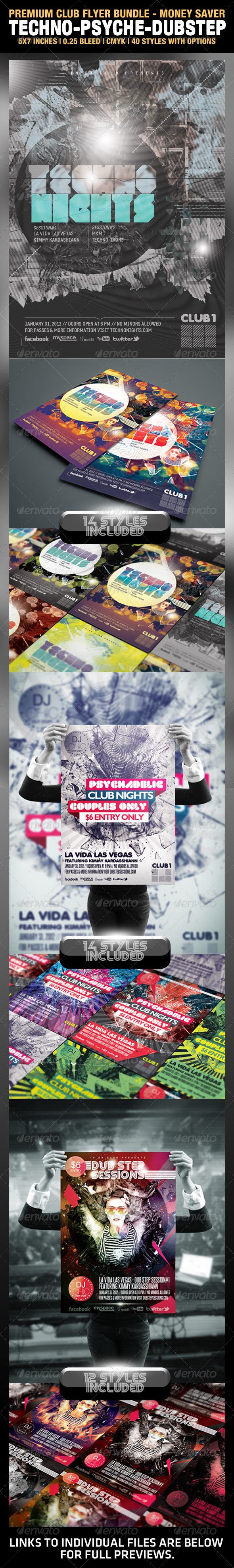 Techno, Psychedelic, and Dub-step Club Flyers - Clubs & Parties Events