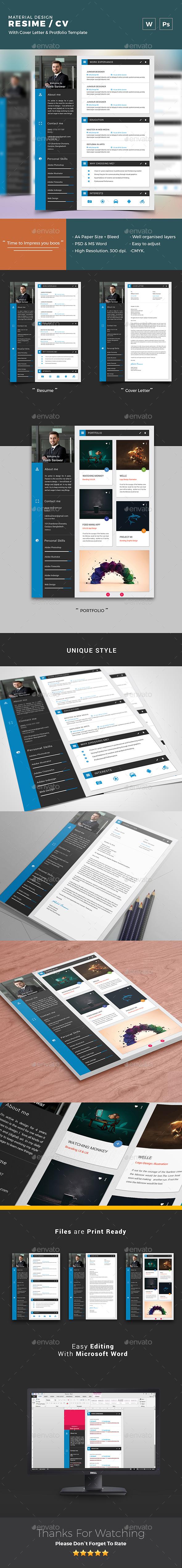 Material Design CV / Resume Vol 02
