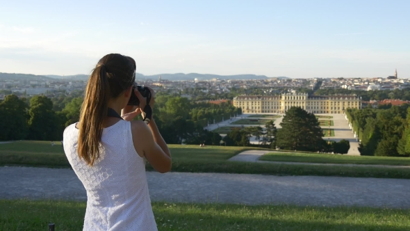 Download Woman Takes Picture Of Palace And Garden In Vienna nulled download