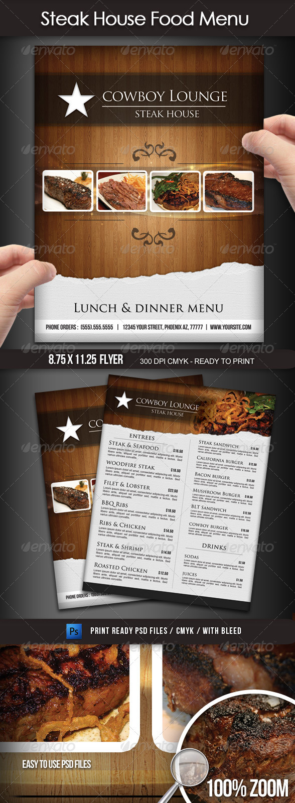 Steak House Menu Flyer
