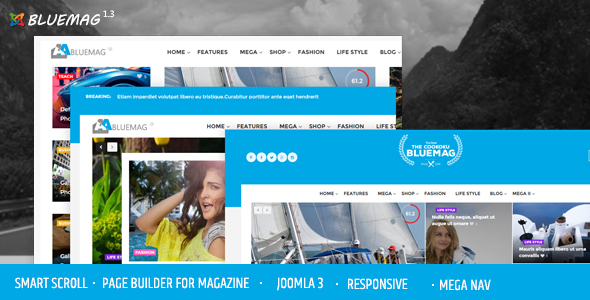 Bluemag - Magazine Blogging Joomla 3 Responsive Templates