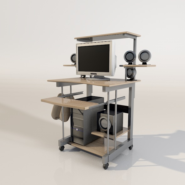 3DOcean 3D Desk with Computer Monitor and Speakers 1775046
