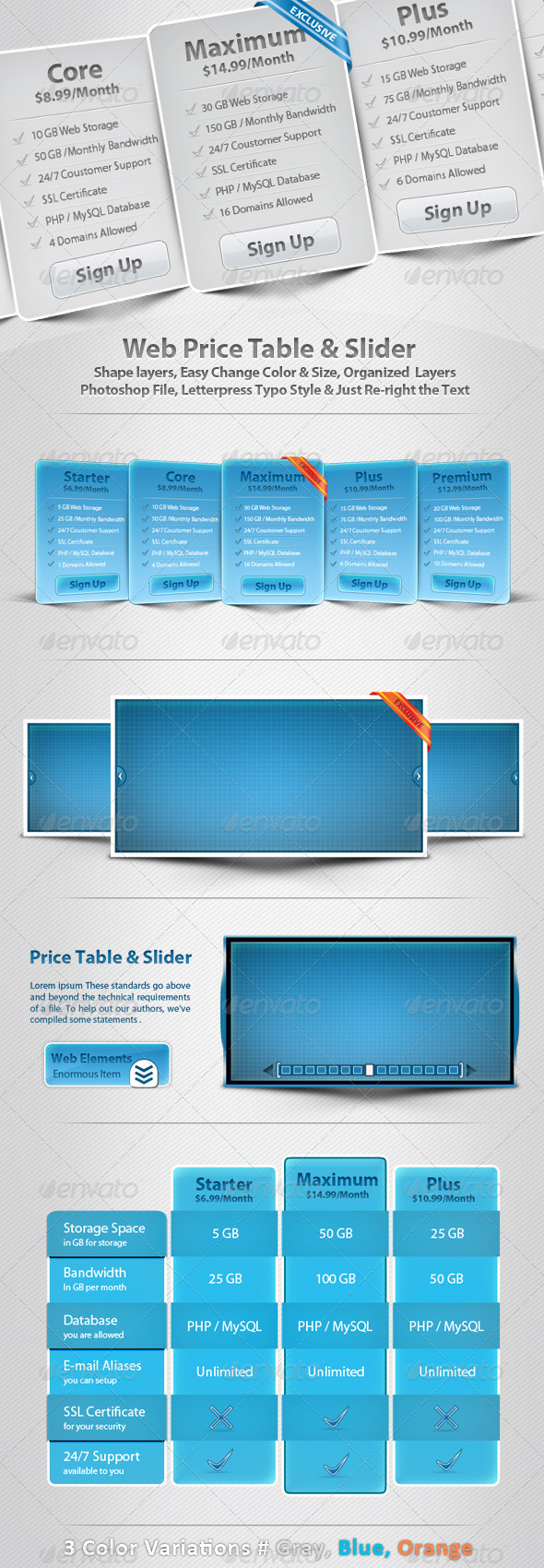 Web Price Table & Slider - Sliders & Features Web Elements
