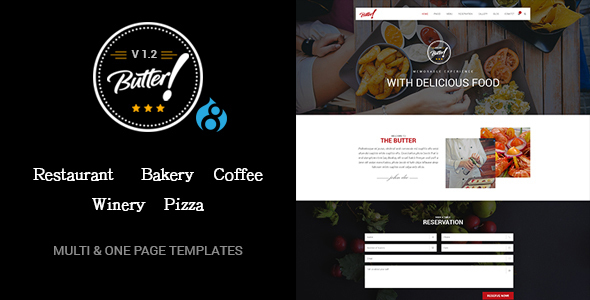 Butter - Professional Restaurant, Bakery, Coffee, Winery and Pizza Drupal 8 Theme