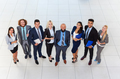 Business People Group Happy Smile Standing At Modern Office Top View, Businesspeople In Row