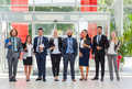 Business People Group Happy Smile Standing Line At Modern Office, Businesspeople Row