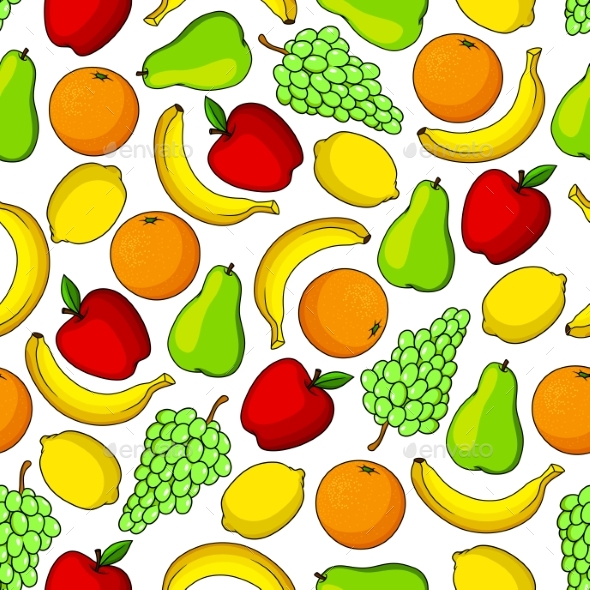 Tropical and Garden Fruits Seamless Pattern