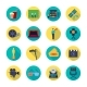 Filmaking Attributes Flat Round Icons Collection
