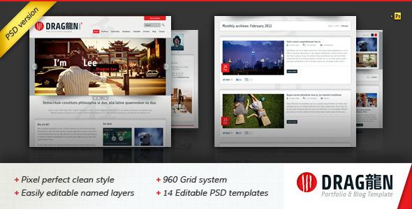 ThemeForest Dragon Portfolio & Blog PSD Template 1766276
