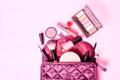 Make up bag with cosmetics make up
