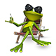 3d Illustration Frog with a Cup of Coffee