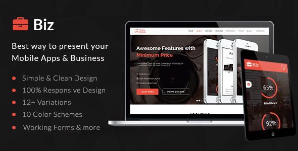 Image of Biz - Simple & Clean HTML5 Business Landing Page