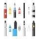 Vaping Flat Icons. Vaporizer Cigarette Electronic