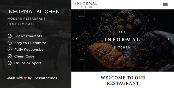Informal Kitchen – Modern Restaurant HTML Template (Corporate) Download