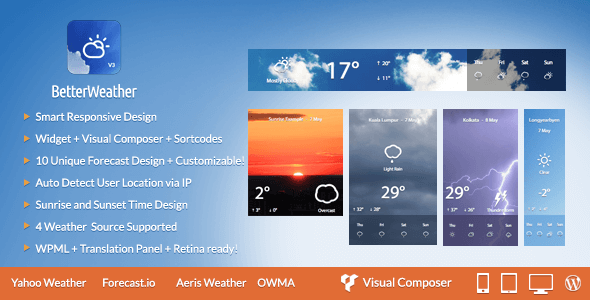 Better Weather - WordPress and Visual Composer Widget
