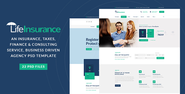 LifeInsurance - An Insurance, taxes, Finance & Consulting Service PSD Template
