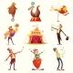 Circus Retro Icons Cartoon Set