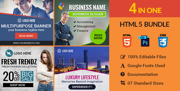 Download Banner Bundle - 4 in 1 HTML5 Ad Templates