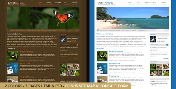 Earth Nature - 7 page HTML theme