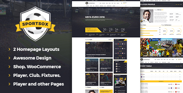 Sportsox | Sport Team Clubs PSD Template