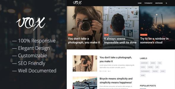 Vox - Responsive Magazine & Blog Blogger Template