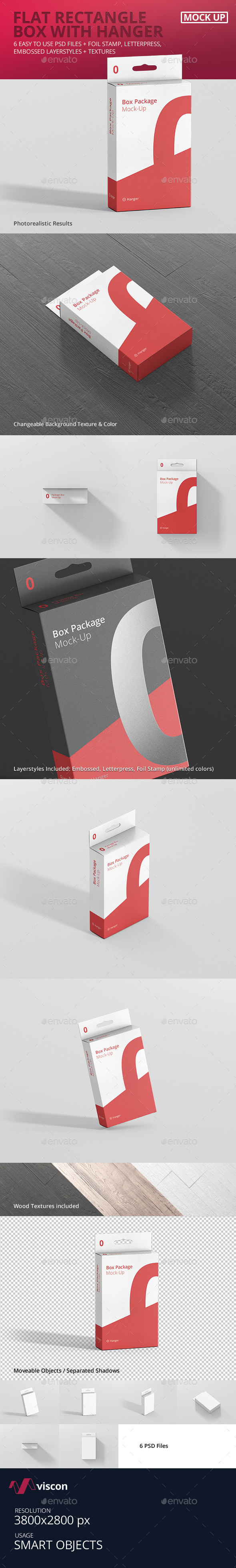 Package Box Mock-Up - Flat Rectangle with Hanger