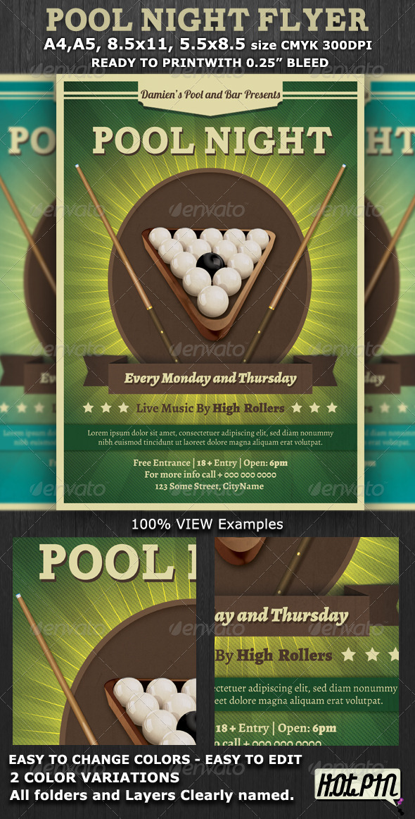 Pool Night Flyer Template - Flyers Print Templates