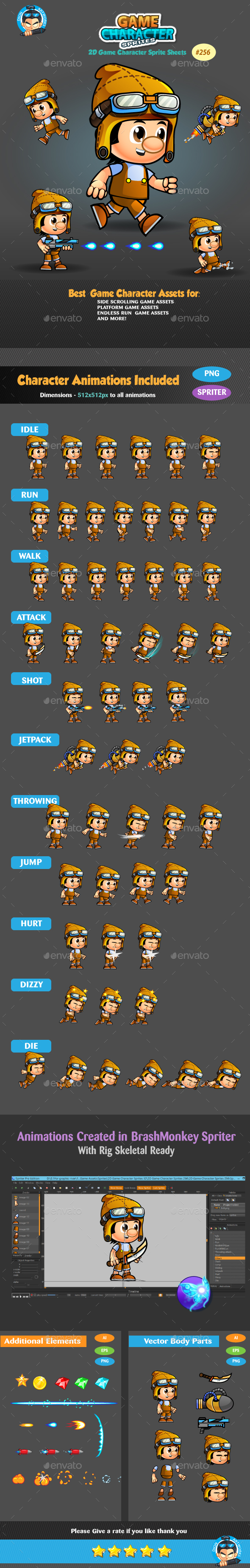 2D Game Character Sprites 256 (Sprites)