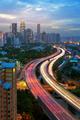 Kuala Lumpur city skyline in sunset