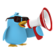 Funny blue bird with a megaphone