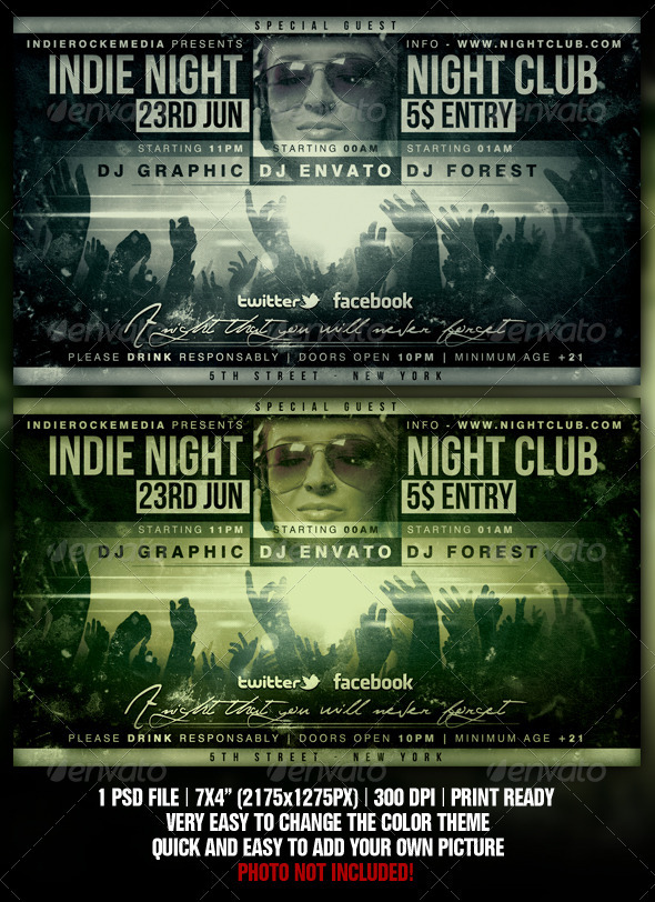 Indie Rock Flyer - Clubs & Parties Events