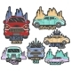 Vector Colorful Set Of Retro Car Club