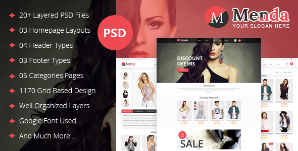 Menda - Multipurpose E-Commerce & Blog PSD Template