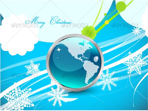 Original blue Christmas design with globe - Christmas Seasons/Holidays