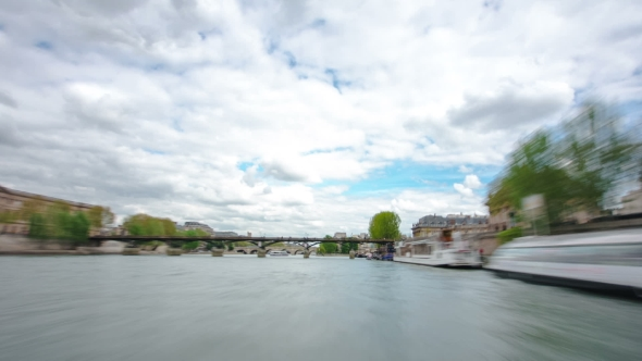 Download Paris. The Excursion Motor Ship Floats Down The River Seine In The Cloudy Spring Day  nulled download