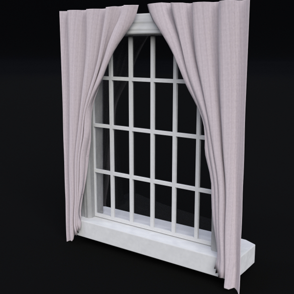 Window with frame and curtains - 3DOcean Item for Sale