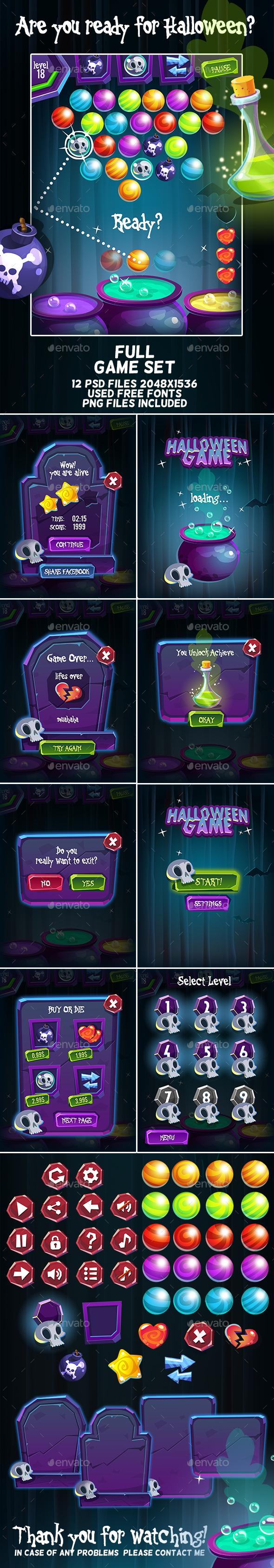 Halloween Bubble Shooter Full Game Set (Game Kits)