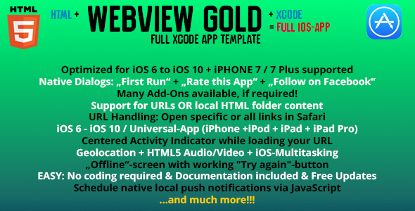 iOS WebViewGold – URL/HTML to iOS App + Push messages