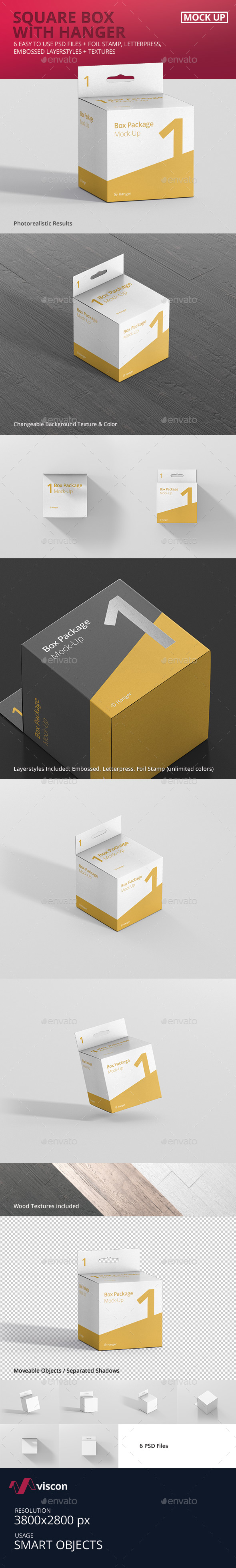 Package Box Mock-Up - Square with Hanger