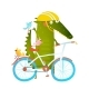 Cartoon Crocodile with Bicycle