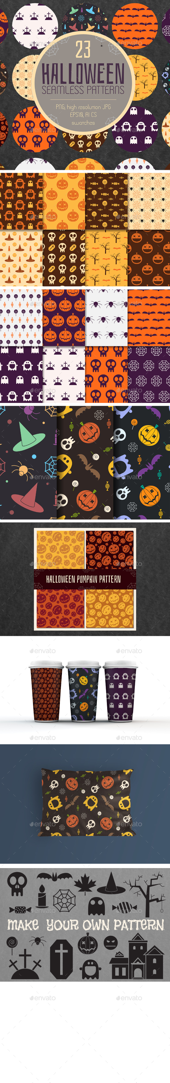 23 Halloween Seamless Patterns Pack
