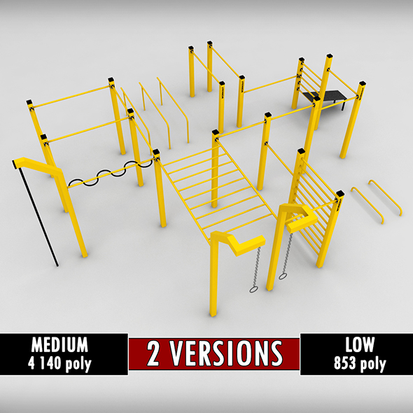 Street workout park gym low poly - 3DOcean Item for Sale