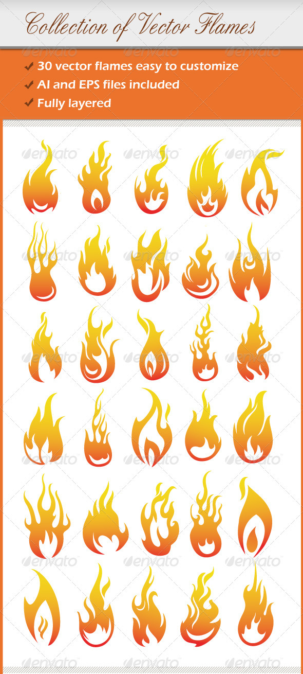 GraphicRiver Collection Of Vector Flames 1780255