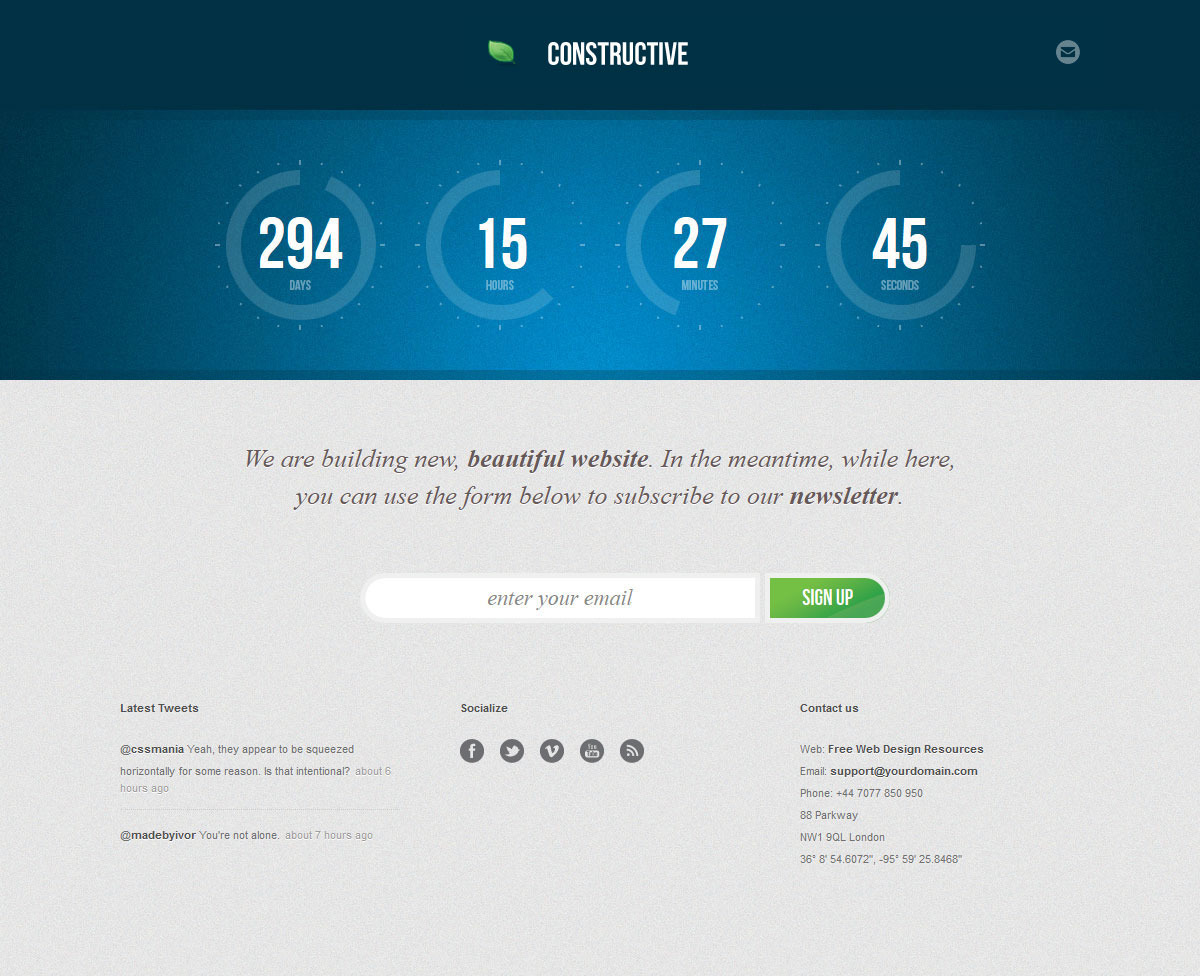 Constructive - Responsive Under Construction Page - COnstructive - Blue Theme (Default)