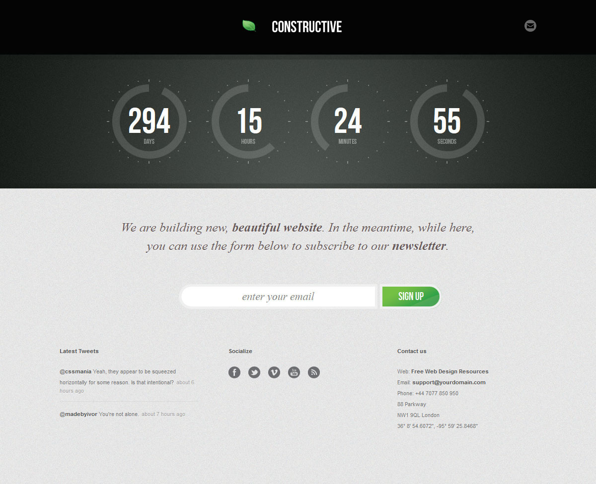 Constructive - Responsive Under Construction Page - COnstructive - Grey Theme
