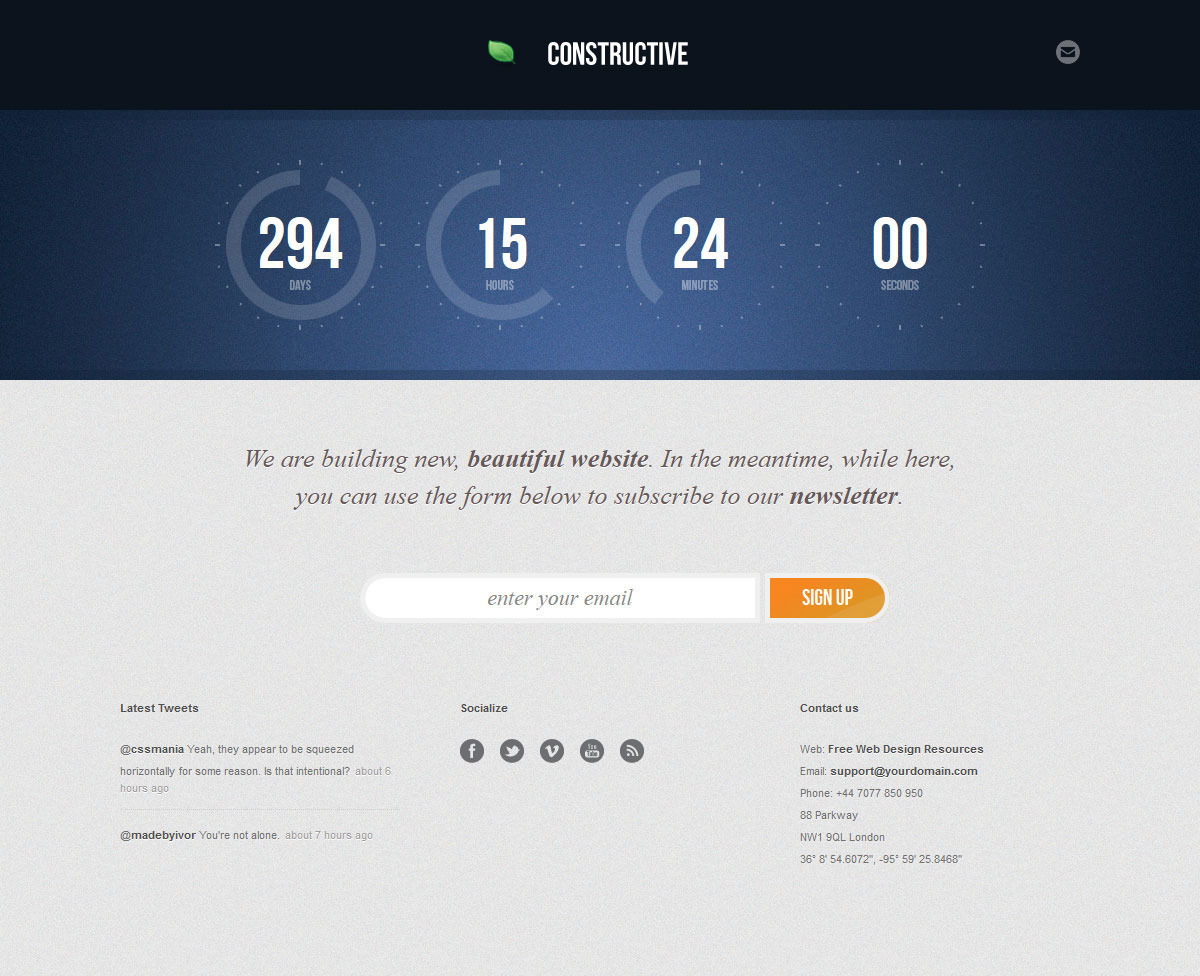Constructive - Responsive Under Construction Page - COnstructive - Navy Blue Theme
