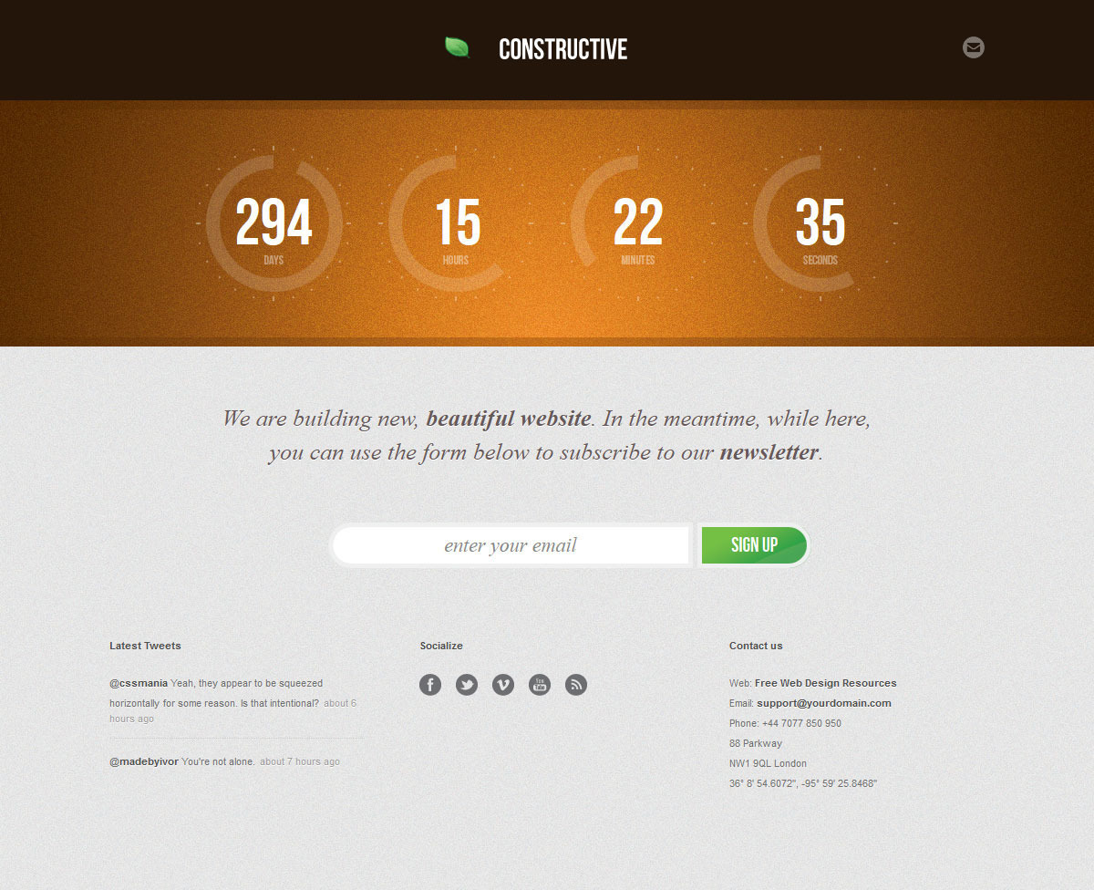 Constructive - Responsive Under Construction Page - COnstructive - Orange Theme