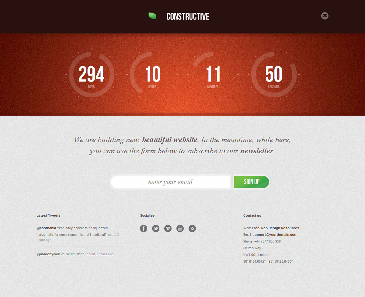 Constructive - Responsive Under Construction Page