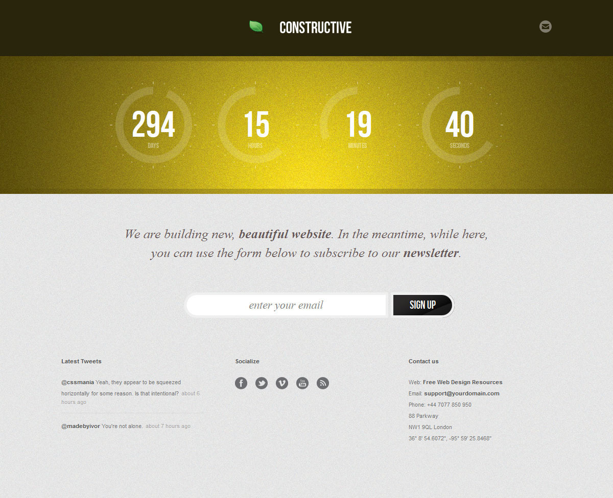 Constructive - Responsive Under Construction Page - COnstructive - Yellow Theme