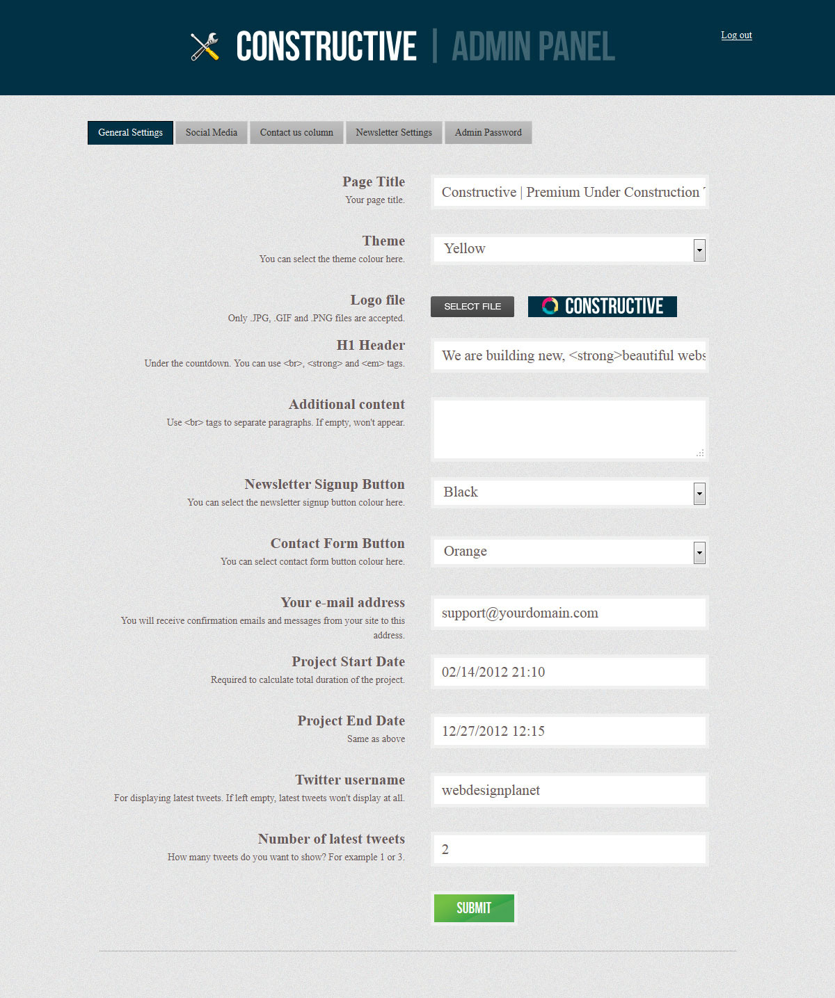 Constructive - Responsive Under Construction Page - COnstructive - Admin Panel, General Settings